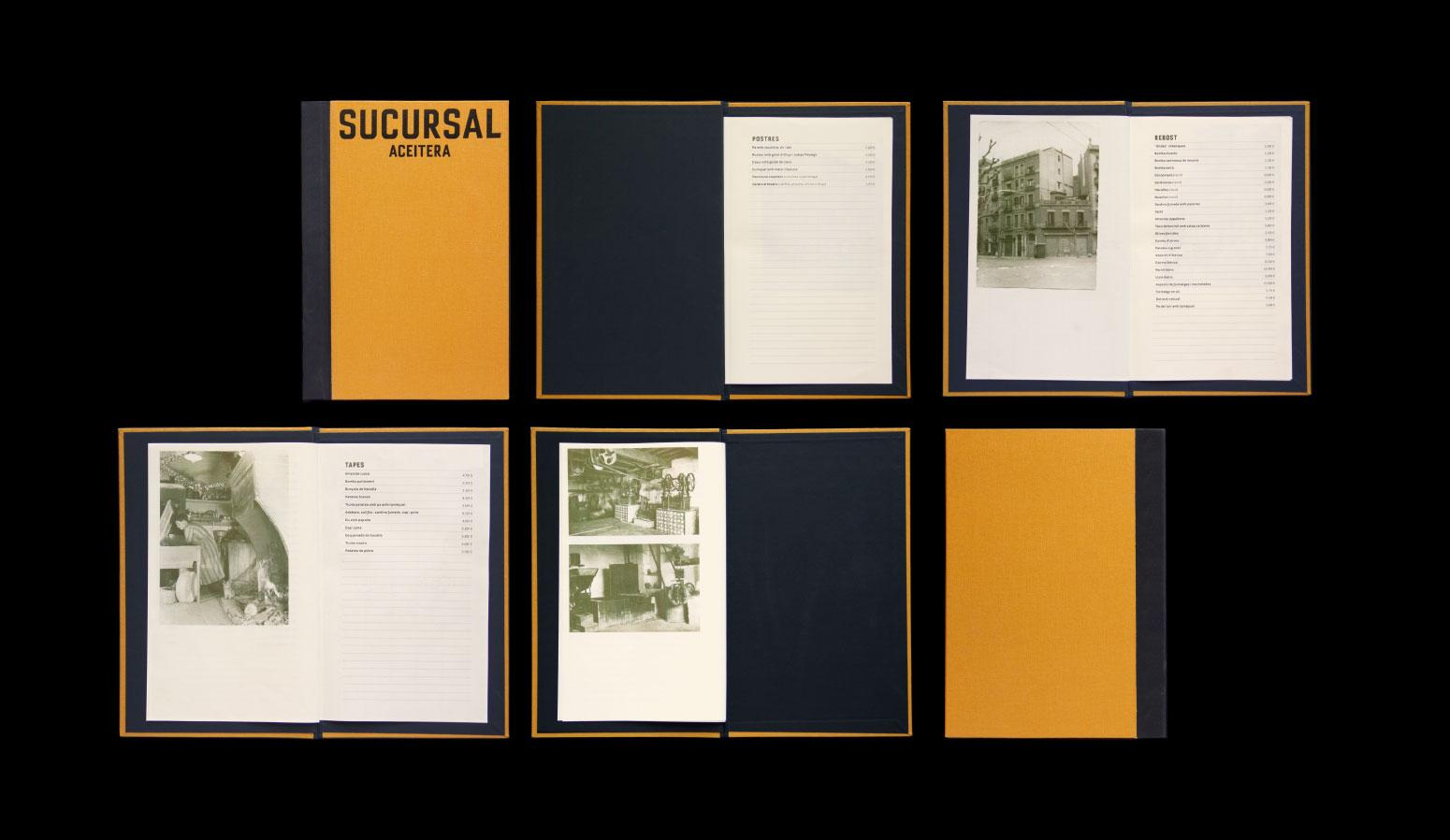 Diseño carta de restaurante Sucursal Aceitera - dosgrapas | Estudio de diseño gráfico en Barcelona