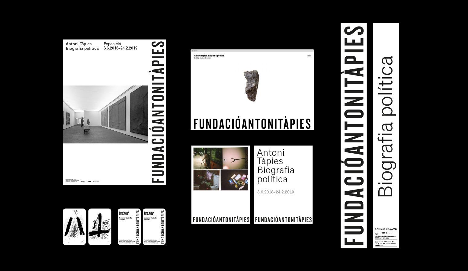 Comunicación gráfica para el museo Fundació Antoni Tàpies. Distintos elementos de comunicación: Cartel, página web, postales, tarjetas, banderolas... - dosgrapas | Estudio de diseño gráfico en Barcelona