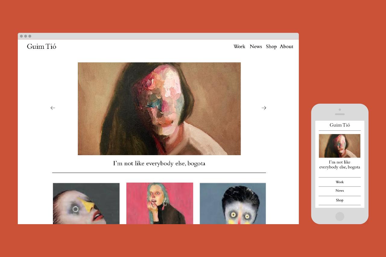 Página web para el artista Guim Tió, diseño web por dosgrapas